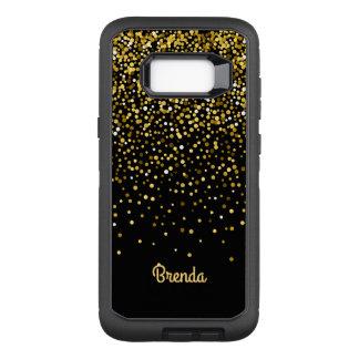 Capa OtterBox Defender Para Samsung Galaxy S8+ Monograma preto dos confetes do ouro