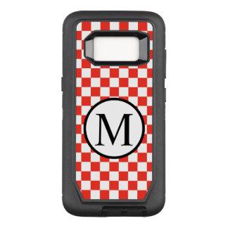 Capa OtterBox Defender Para Samsung Galaxy S8 Monograma simples com tabuleiro de damas vermelho