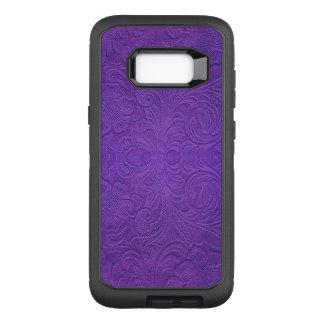 Capa OtterBox Defender Para Samsung Galaxy S8+ Olhar floral roxo da textura da camurça do teste