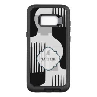 Capa OtterBox Defender Para Samsung Galaxy S8+ Pente afro preto e branco do monograma