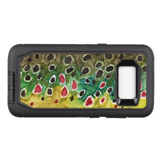 Capa OtterBox Defender Para Samsung Galaxy S8 Pesca da truta de Brown, ictiologia