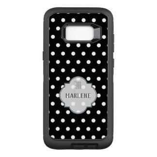 Capa OtterBox Defender Para Samsung Galaxy S8+ Polkadot preto e branco do monograma