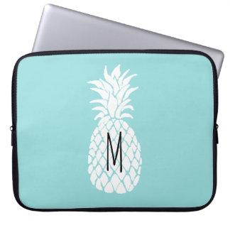 Capa Para Computador abacaxi do branco do monograma