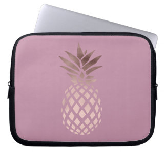 Capa Para Computador abacaxi tropical do ouro cor-de-rosa elegante do