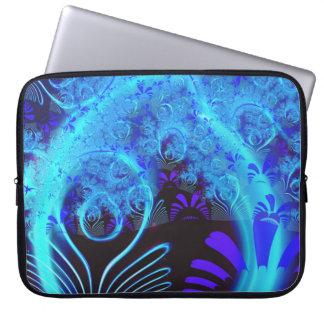 Capa Para Computador Belas artes florais azuis abstratas bonitos do