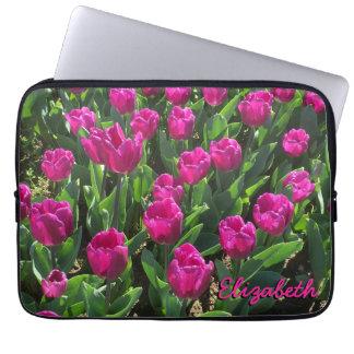 Capa Para Computador Bonito das tulipas do rosa quente personalizado
