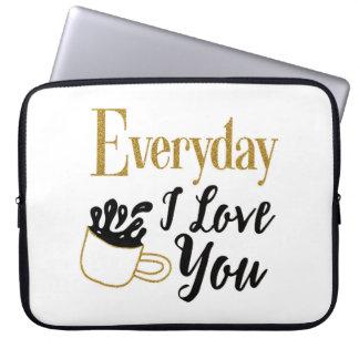"""Capa Para Computador """"Caixa temático do laptop eu te amo"""" do café"""