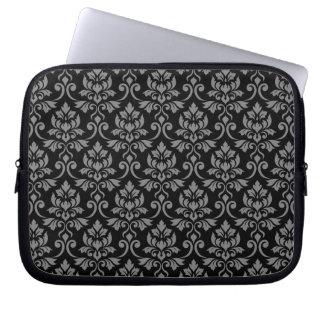 Capa Para Computador Cinzas da cor damasco de Feuille no preto