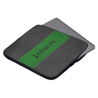 Capa Para Computador Couro preto e verde masculino do falso