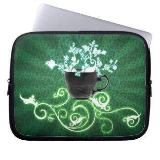 Capa Para Computador cup_flowers_green_