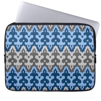 Capa Para Computador Damasco, azul e cinzas/cinza de Ikat do marroquino