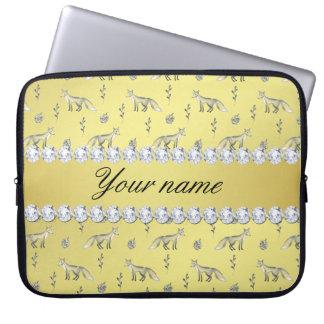 Capa Para Computador Diamantes elegantes de Bling da folha de ouro do