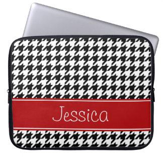 Capa Para Computador Houndstooth vermelho e preto formal personalizado