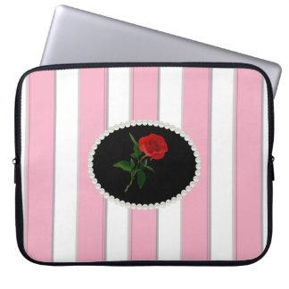 Capa Para Computador O rosa elegante listra a bolsa de laptop com rosa