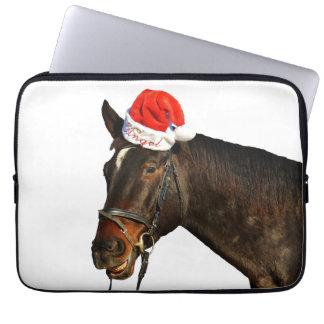 Capa Para Computador Papai noel do cavalo - cavalo do Natal - Feliz