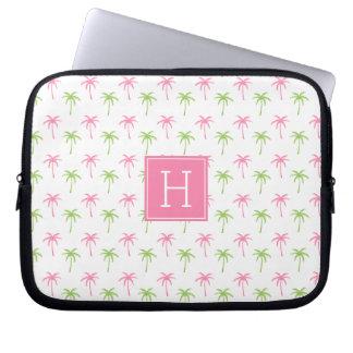 Capa Para Computador Teste padrão cor-de-rosa e verde das palmeiras