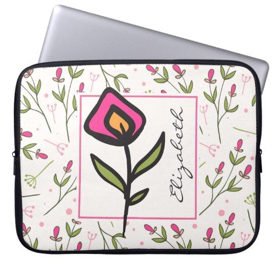 Capa Para Computador Wildflowers longos da haste do rosa e do verde
