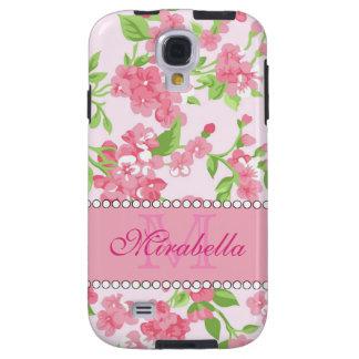 Capa Para Galaxy S4 Nome de ramos cor-de-rosa da flor da aguarela do