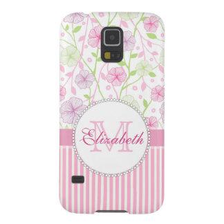 Capa Para Galaxy S5 Listras do rosa Pastel, do roxo, das flores, as