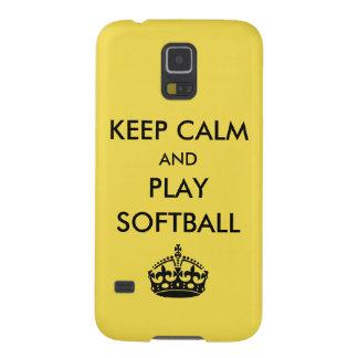 Capa Para Galaxy S5 Mantenha o softball da calma e do jogo