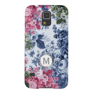 Capa Para Galaxy S5 Monograma floral do jardim do rosa & do azul de