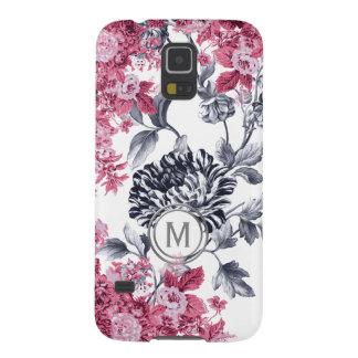 Capa Para Galaxy S5 Monograma floral preto & branco cor-de-rosa do