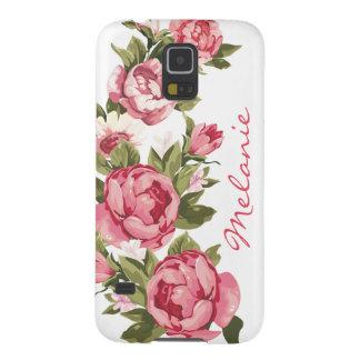 Capa Para Galaxy S5 O vintage personalizado cora peônias cor-de-rosa