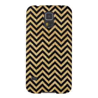 Capa Para Galaxy S5 O ziguezague preto do brilho do ouro listra o