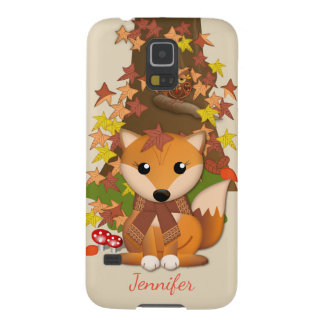 Capa Para Galaxy S5 Raposa bonito e coruja no outono