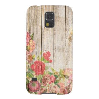 Capa Para Galaxy S5 Rosas românticos rústicos do vintage de madeira