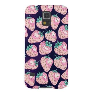 Capa Para Galaxy S5 Teste padrão cor-de-rosa da morango no fundo roxo