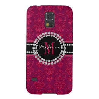 Capa Para Galaxy S5 Vermelho carmesim, damasco magenta, nome e