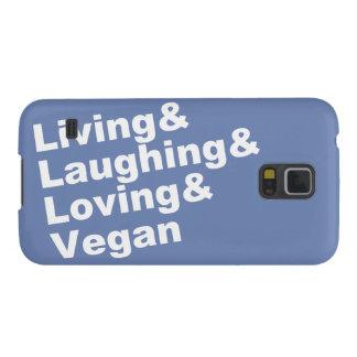 Capa Para Galaxy S5 Vida e riso e amor e Vegan (brancos)
