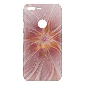 Capa Para Google Pixel XL Da Uncommon Flor moderna do abstrato floral cor-de-rosa macio