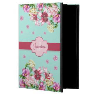 Capa Para iPad Air 2 Aqua floral do lírio & da peônia