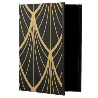 Capa Para iPad Air 2 Elegante, art deco, ouro, preto, fã, teste padrão,