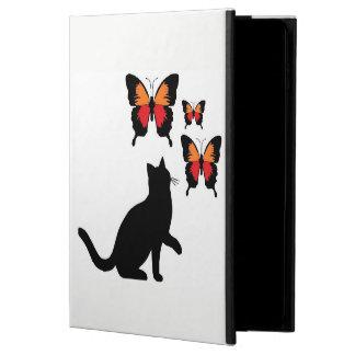 Capa Para iPad Air 2 Eu acolchôo o gato preto e borboletas bonitos da