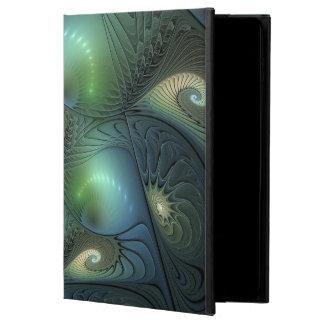 Capa Para iPad Air 2 Fractal verde bege de turquesa das espirais legal