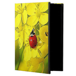Capa Para iPad Air 2 Joaninha amarelo do vermelho da boa sorte da flor