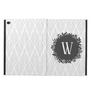 Capa Para iPad Air 2 Luz - monograma frondoso do cinza e o branco do