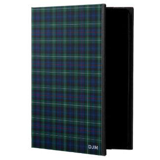 Capa Para iPad Air 2 Monograma azul escuro e verde do Tartan do clã de