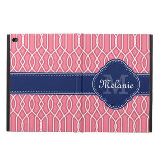 Capa Para iPad Air 2 Monograma branco cor-de-rosa brilhante do marinho