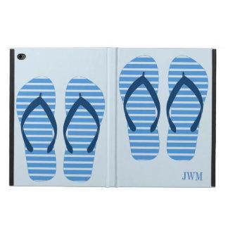 Capa Para iPad Air 2 Monograma da praia do verão dos chinelos da listra