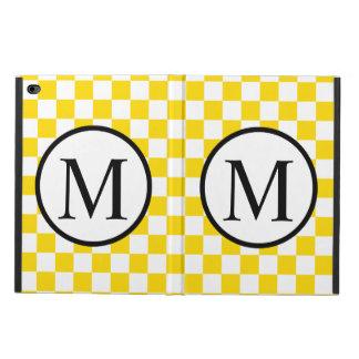 Capa Para iPad Air 2 Monograma simples com tabuleiro de damas amarelo