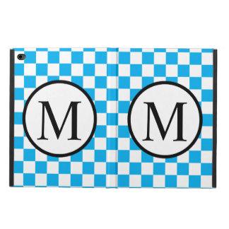 Capa Para iPad Air 2 Monograma simples com tabuleiro de damas azul