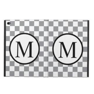 Capa Para iPad Air 2 Monograma simples com tabuleiro de damas cinzento