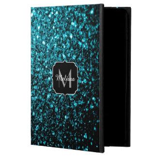 Capa Para iPad Air 2 O brilho azul do Aqua bonito sparkles monograma