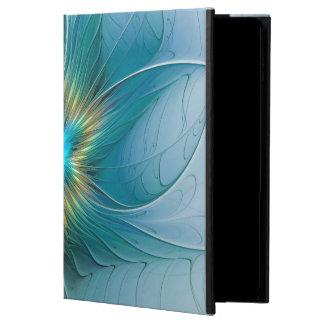 Capa Para iPad Air 2 Pouca flor azul moderna do Fractal do ouro da