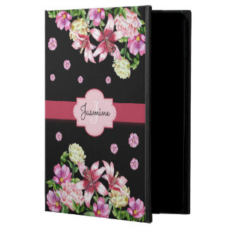 Capa Para iPad Air 2 Preto floral do lírio & da peônia