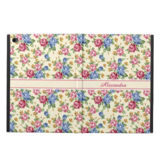 Capa Para iPad Air 2 Rosa romântico Pastel da flor, vermelho, nome azul